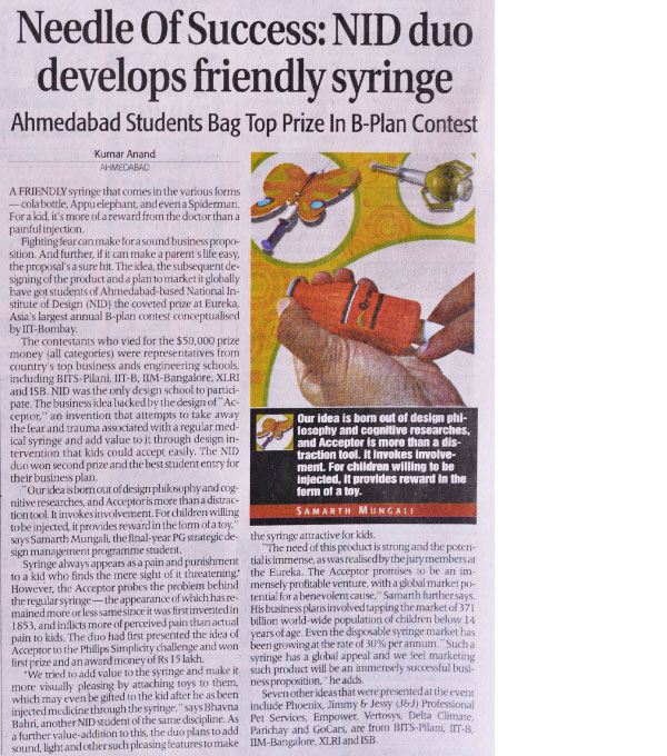 Acceptor News in Economic Times