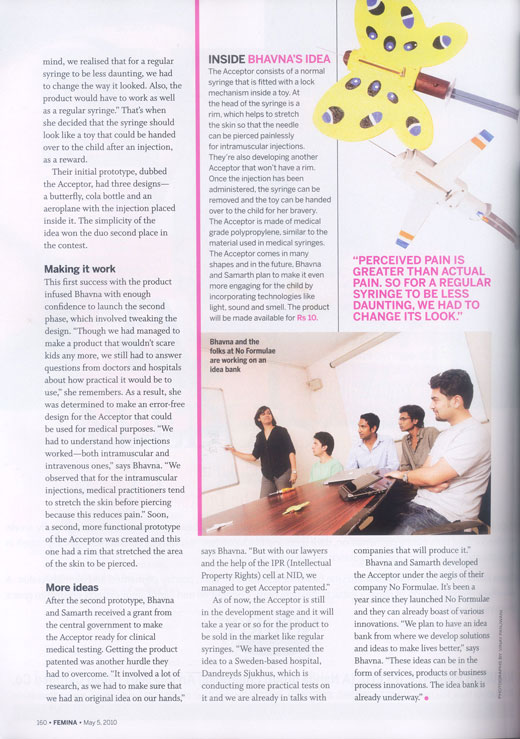 Bhavna Femina - No Formulae featured on Femina - Idea Bank - Designful Innovation- female entrepreneur